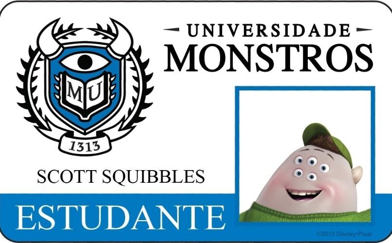 """A Disney Pixar divulgou novo material do filme """"Universidade Monstros"""" que mostra os cartões de identidade de alguns personagens. Acima, o cartão de Scott Squibbles"""
