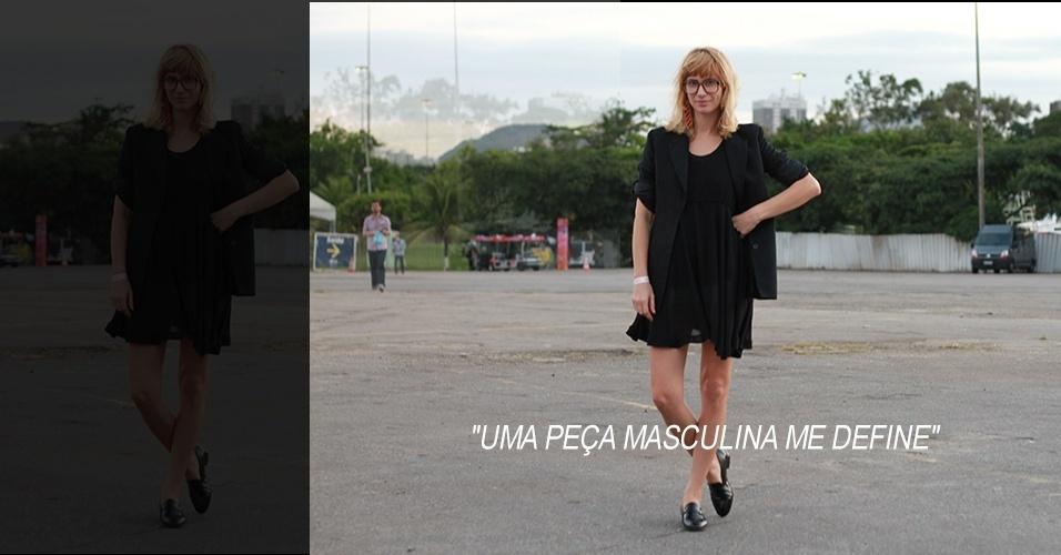 18 abr. 2013 - Leila tem 34 anos e é maquiadora. O vestido e o sapato são de brechó, o paletó é Forum e os brincos são da marca Diva