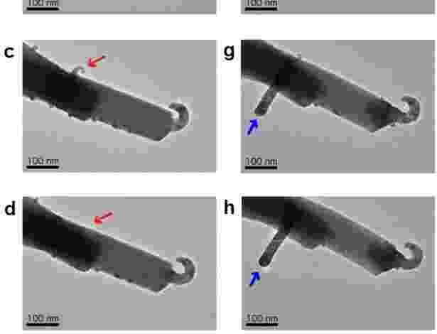18.abr.2013 - Imagens microscópicas mostram o crescimento dos filamentos de prata (setas azuis) na superfície de cristais de tungstato, um composto formado por óxido de prata e tungstênio - Scientific Reports