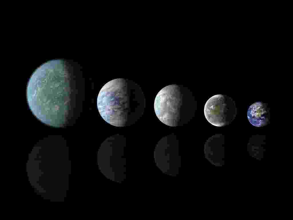 18.abr.2013 - Já fora do Sistema Solar, os grandes candidatos a abrigar vida são os Keplers, planetas descobertos pelo telescópio Kepler da Nasa (Agência Espacial Norte-Americana). Esta concepção artística compara os tamanhos dos planetas Kepler-22b, Kepler-69c, Kepler-62e e Kepler-62f com o da Terra. Todos estão na zona habitável de suas respectivas estrelas - Nasa Ames/JPL-Caltech