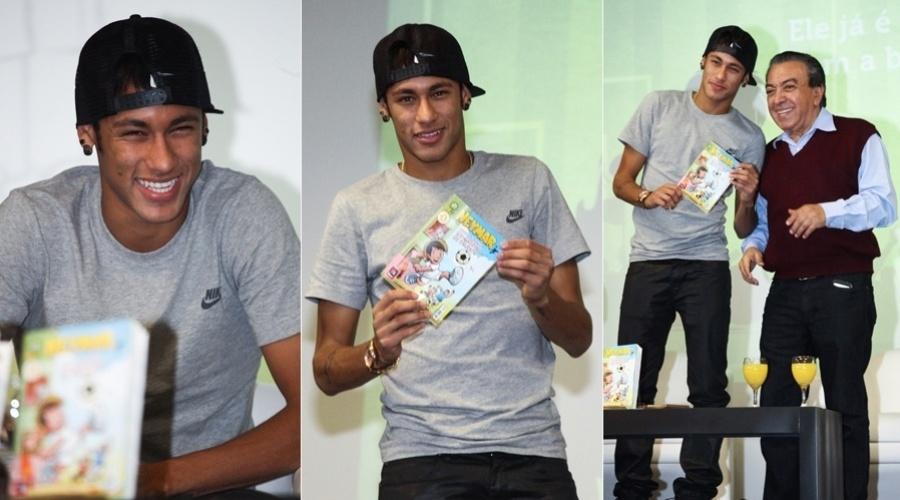 """18.abr.2013 - O jogador Neymar virou personagem de revista em quadrinhos pelas mãos de Maurício de Souza. A revista, intitulada """"Neymar Jr."""", foi lançada nesta quinta em coletiva em São Paulo"""