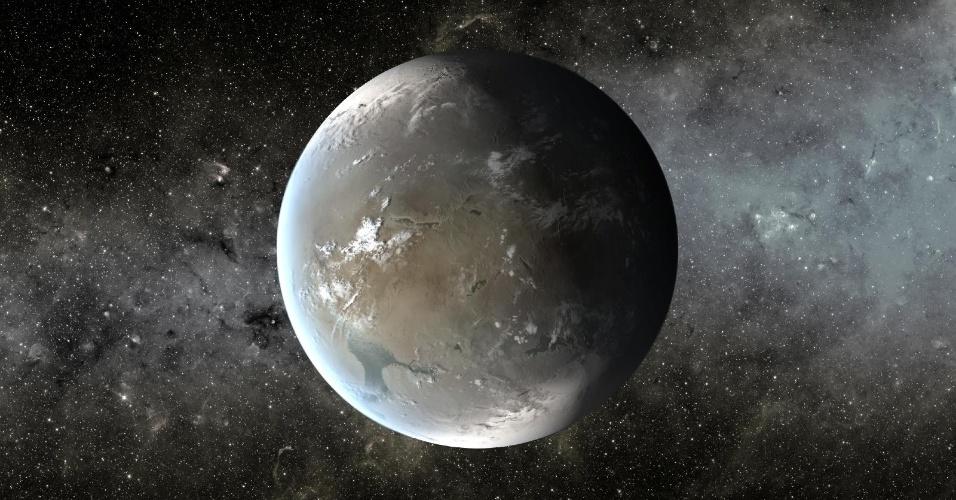 18.abr.2013 - O Kepler-62f (em concepção artística na imagem) é um planeta 40% maior do que a Terra, a 1.200 anos-luz de distância. A órbita em torno de seu sol é de 267 dias, o que o coloca na zona habitável do sistema planetário. Seu tamanho é conhecido, mas a composição não, apesar de os cientistas acreditarem que ele é rochoso