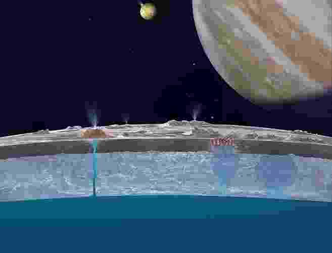 6.mar.2013 -  Na imagem, uma concepção artística mostra a água sob camada de gelo na lua Europa e Júpiter ao fundo - AFP/Nasa/JPL-Caltech