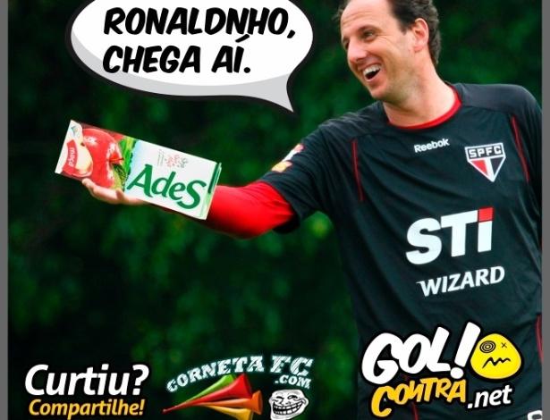 Corneta FC: Ceni se prepara para oferecer bebida a Ronaldinho