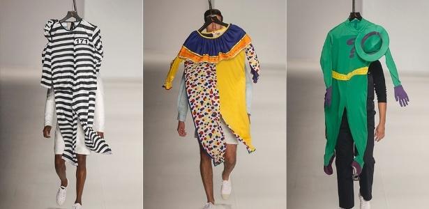 """Nas últimas temporadas do Fashion Rio, a Reserva substituiu seus desfiles por """"happenings"""". Para o Verão 2014, a marca optou por esconder suas roupas sob cabides com fantasias - Alexandre Schneider/UOL"""