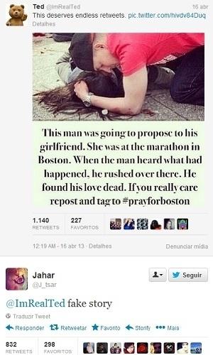 19.abr.2013 - Dzhokhar Tsarnaev, suspeito número 2 do atentado em Boston, afirma que é mentira uma mensagem de outro usuário postada no microblog Twitter em 16 de abril de 2012, dia seguinte à explosão na maratona de Boston. Segundo amigos, o perfil no microblog é do adolescente tchetcheno. Em sua página no site, o Dzhokhafr cita letras de rap e defende o Islã, entre outras mensagens