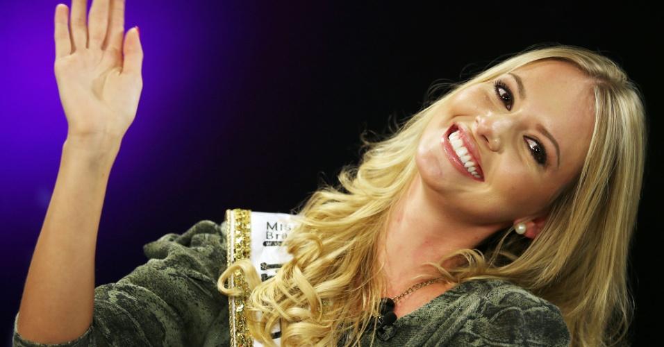 """Antes de vencer o Miss Brasil World, Sancler Frantz ficou em terceiro lugar no programa """"Top Model - o Reality"""""""
