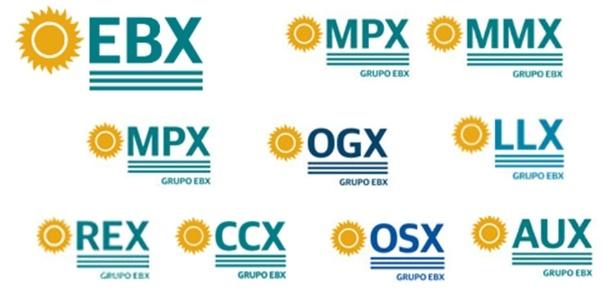 Logotipos das empresas do grupo EBX, de Eike Batista, têm o sol à esquerda - Reprodução