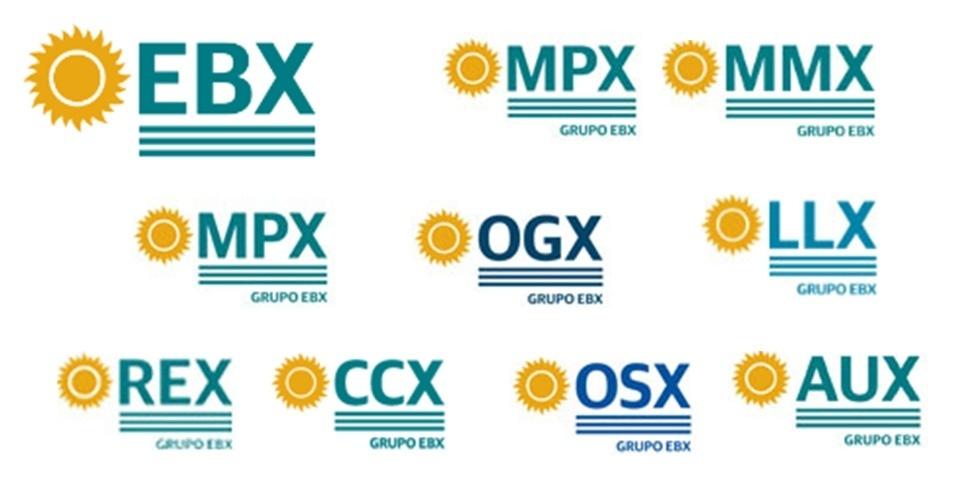 Logotipos das empresas do grupo X, de Eike Batista