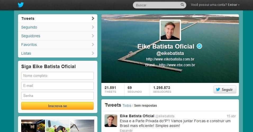 Twitter do Eike Batista