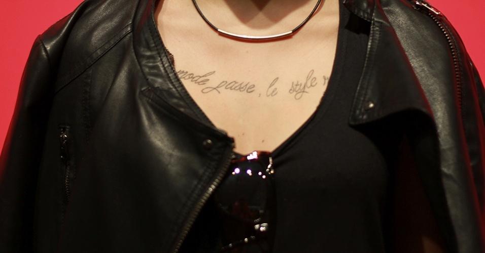 19 abr. 2013 - Detalhe para a tatuagem de Marcella