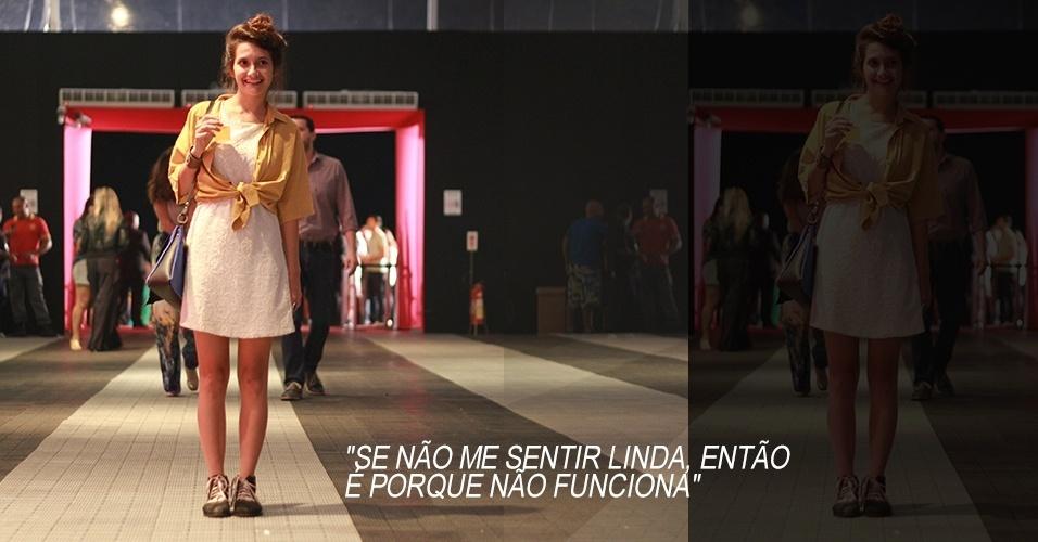 19 abr. 2013 - Iasmine Bon, 22, é estilista da marca Docaique. Ela usa vestido Brandy Melville, camisa de brechó e sapato Docaique. A bolsa foi ela quem fez