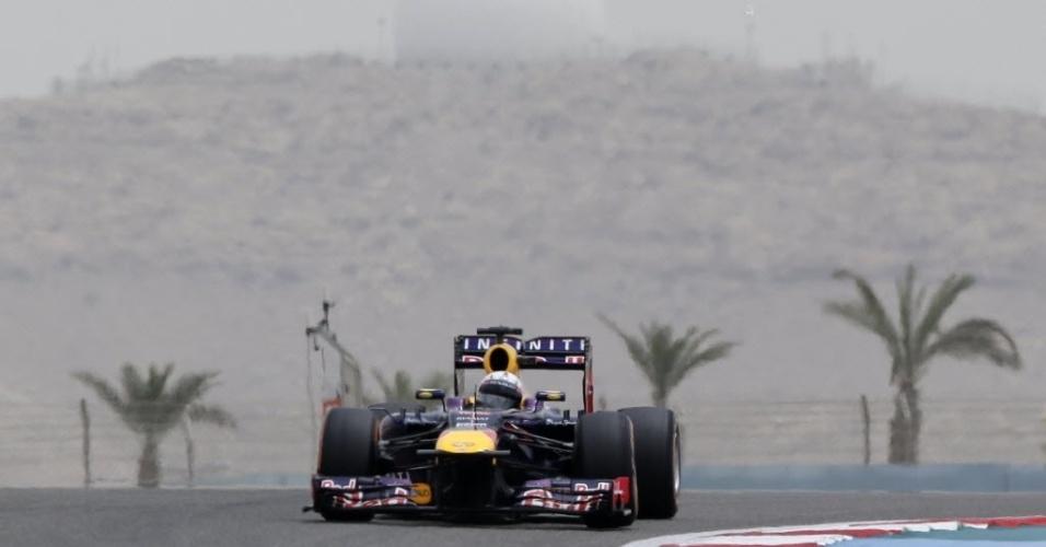 20.abr.2013 - Sebastian Vettel disputa treino de classificação no GP do Bahrein; alemão vai largar em segundo lugar