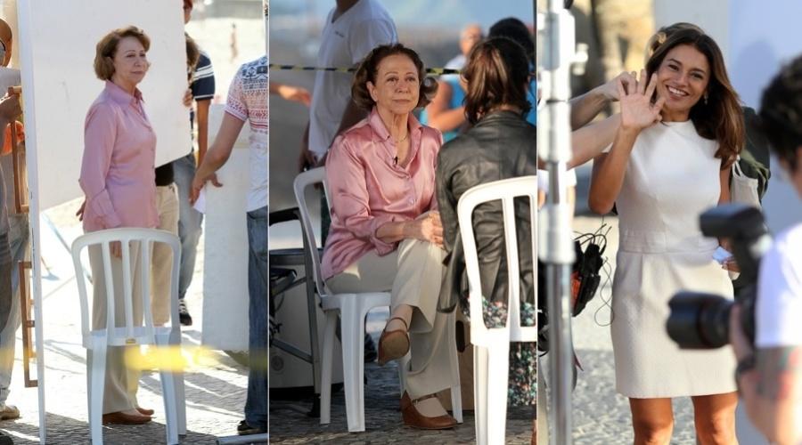 22.abr.2013 - Fernanda Montenegro e Dira Paes gravaram comercial na praia do Arpoador, zona sul do Rio