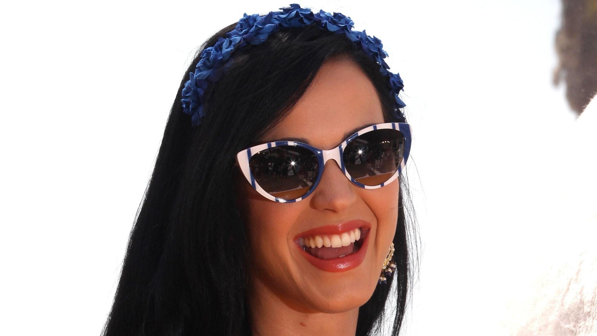 22.Abr.2013 - Katy Perry, durante evento promocional do filme
