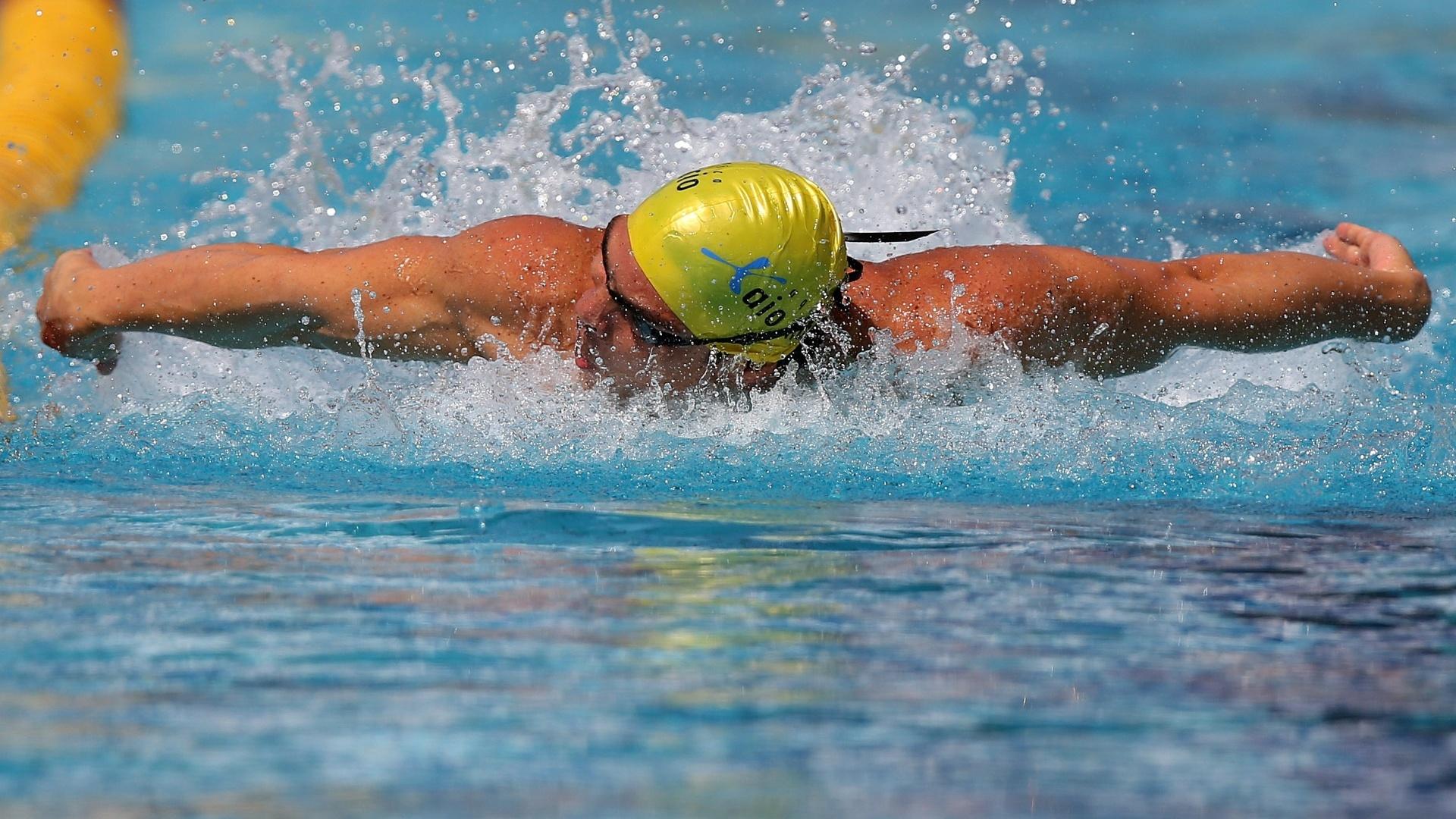 23.abr.2013 - Kaio Márcio fez o segundo melhor tempo nas eliminatórias dos 100m borboleta no Troféu Maria Lenk