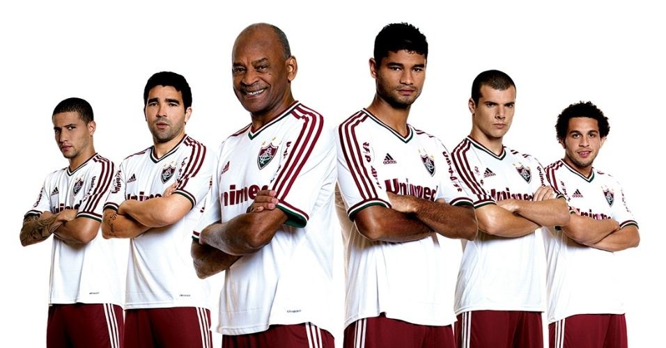 Bruno, Deco, Assis, Gum, Wagner e Wellington Nem apresentam nova camisa do Fluminense