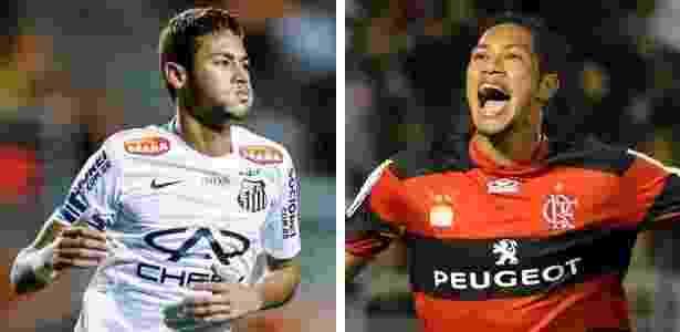 Neymar(e) marcou 13 gols em jogos oficiais pelo Santos em 2013; Hernane(d), 15 pelo Fla - Leandro Moraes/UOL e Alexandre Vidal/Fla Imagem