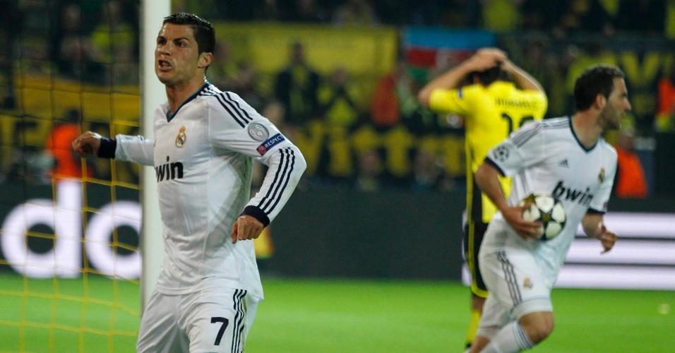 24.abr.2013 - Cristiano Ronaldo mostra raiva ao comemorar gol de empate do Real Madrid contra o Borussia Dortmund
