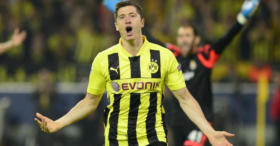 24.abr.2013 - Lewandowski já marcou quatro gols para o Borussia Dortmund contra o Real Madrid