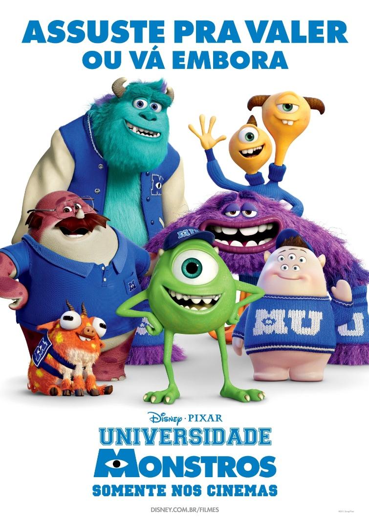 """Cartaz da fraternidade """"Assuste pra Valer ou Vá Embora"""", com personagens do filme """"Universidade Monstros"""". A animação estreia dia 21 de junho no Brasil"""