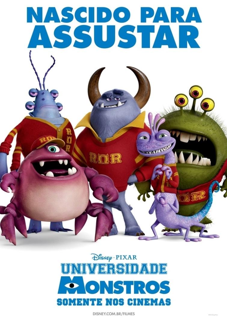 """Cartaz da fraternidade """"Nascido para Assustar"""", com personagens do filme """"Universidade Monstros"""". A animação estreia dia 21 de junho no Brasil"""