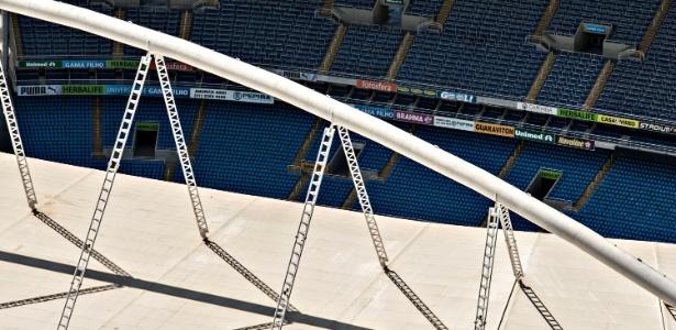 Detalhe da cobertura do Engenhão, responsável pela interdição do estádio em março