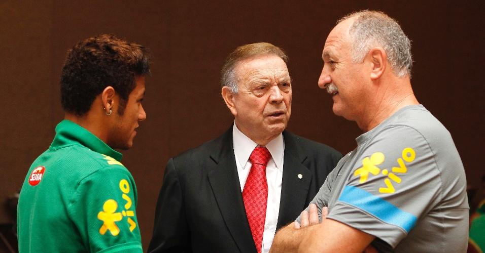 José Maria Marin conversa com Felipão e Neymar em visita ao hotel da seleção