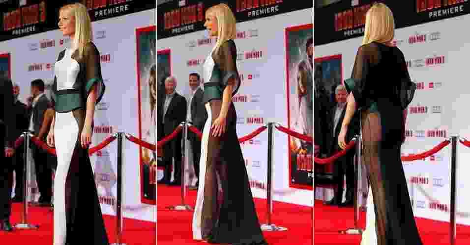 """24.abr.2013 - Gwyneth Paltrow abusou das transparências no vestido escolhido para o lançamento de """"Homem de Ferro 3"""". Ela interpreta Pepper Potts no filme - Mario Anzuoni/Reuters"""