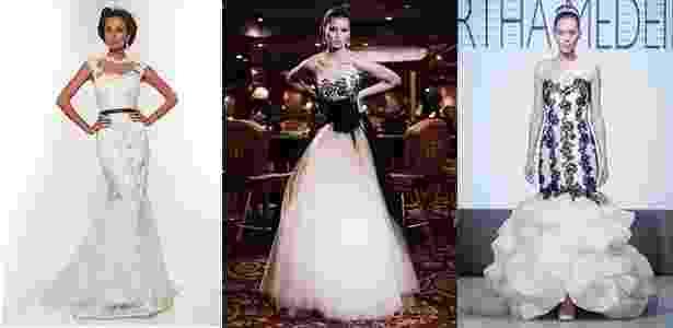 Vestidos em branco e preto dos estilistas Lucas Anderi, Solaine Piccoli e Martha Medeiros (da dir. à esq.) - Divulgação/Everton Rosa/Leandro Moraes - UOL
