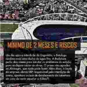 Um dia após a interdição do Engenhão, o Botafogo recebeu mais uma ducha de água fria. A Prefeitura pediu dois meses para estudar os problemas do estádio para só depois iniciar as obras. O prazo não agradou ao Alvinegro, que nada pôde fazer. Além disso, o laudo da empresa alemã SBP, responsável pela interdição da arena, apontava o risco de desabamento da cobertura em caso de vento superior a 63km/h. - Júlio Cesar Guimarães/UOL
