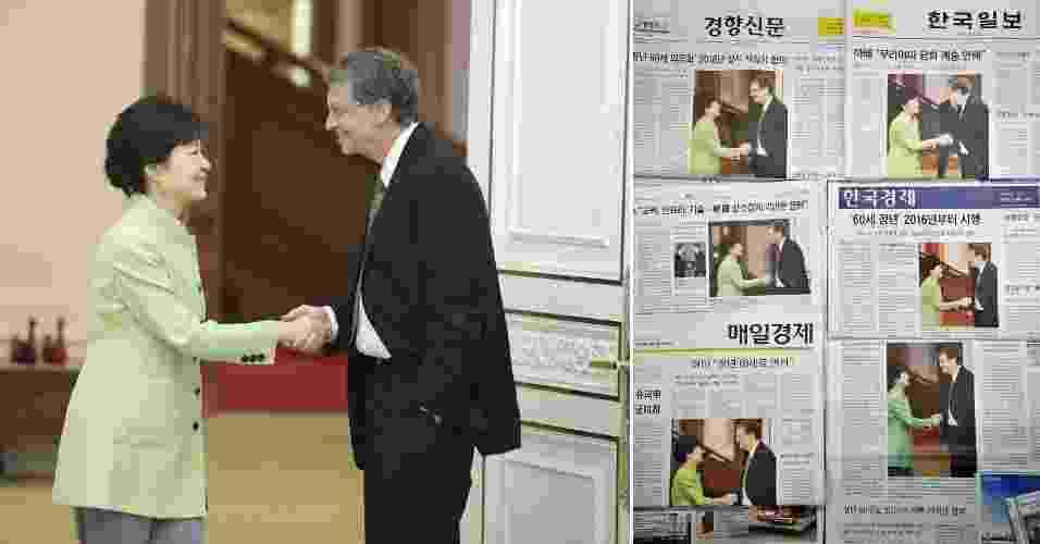 """22.abr.2013 - Em encontro com a líder sul-coreana, Park Geun-hye, o fundador da Microsoft, Bill Gates, cumprimentou a presidente de forma casual, com uma das mãos no bolso. O ato foi alvo de críticas da imprensa da Coreia do Sul e ganhou destaque na capa dos principais jornais do país no dia seguinte. """"Diferença cultural ou um ato de desrespeito?"""", questionou o jornal JoongAng Ilbo. """"Aperto de mão desrespeitoso ou casual?"""" indagou o Dong-A Ilbo. Segundo o jornal sul-coreano NPR, o ato é visto como uma gafe por ser desrespeitoso, na cultura do país, cumprimentar outra pessoa com uma das mãos no bolso. O governo da Coreia do Sul não quis comentar o caso. Gates visitou o país para promover a empresa de energia nuclear Terra Power, enquanto Park procurou o empresário para obter conselhos sobre economia - Yonhap/EFE/Jung Yeon-je/AFP/Montagem"""