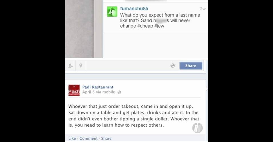 26.abr.2013 - O gerente de um restaurante de comida pan-asiática em Delaware (EUA) causou estragos sérios à reputação do estabelecimento depois de xingar, no Instagram e no Facebook, clientes que deixavam pouca gorjeta.