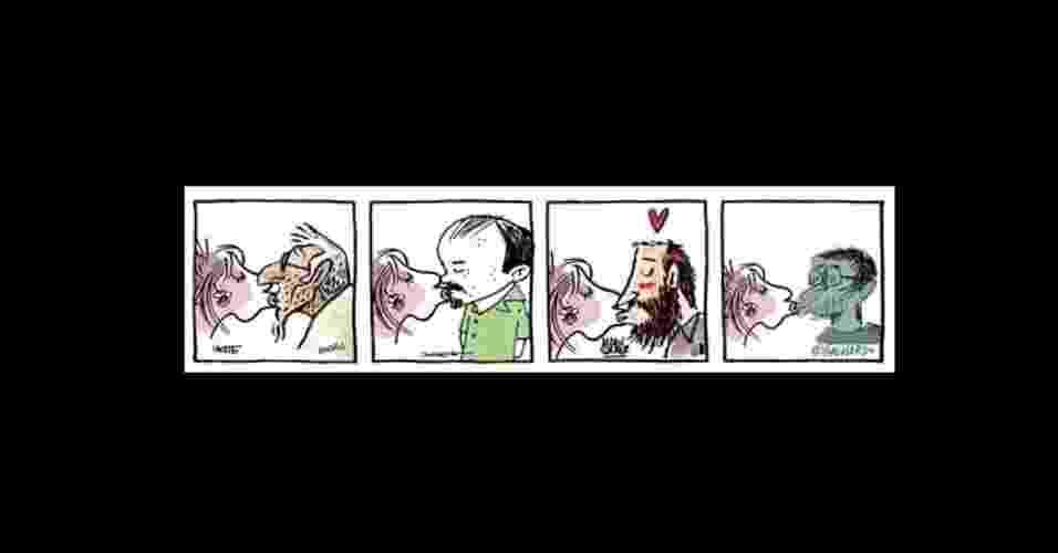 """Quadrinista diário do jornal """"Folha de S.Paulo"""", Laerte publicou nesta quinta (25), um beijaço em protesto a Feliciano. Na tira, ele aparece beijando outros cartunistas do caderno Ilustrada como Allan Sieber, Angeli e Caco Galhardo. A proposta foi adotada por fãs do cartunista, que começaram a criar suas próprias versões e espalhar pelas redes sociais. Veja algumas versões no álbum a seguir - CartunsDiários/FolhadeS.Paulo"""
