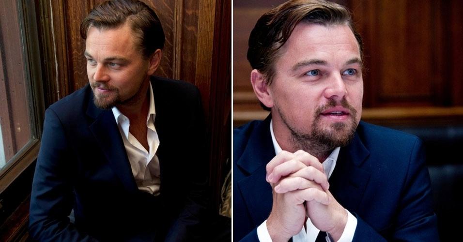 """26.abr.2013 - Leonardo DiCaprio posa para fotos para promover seu novo filme, """"O Grande Gatsby"""", em em Nova York"""