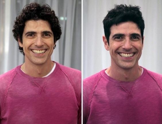 27.abr.2013 - O antes e o depois do ator Reynaldo Gianecchini, que cortou os cabelos e despediu-se do visual do personagem Nando, de