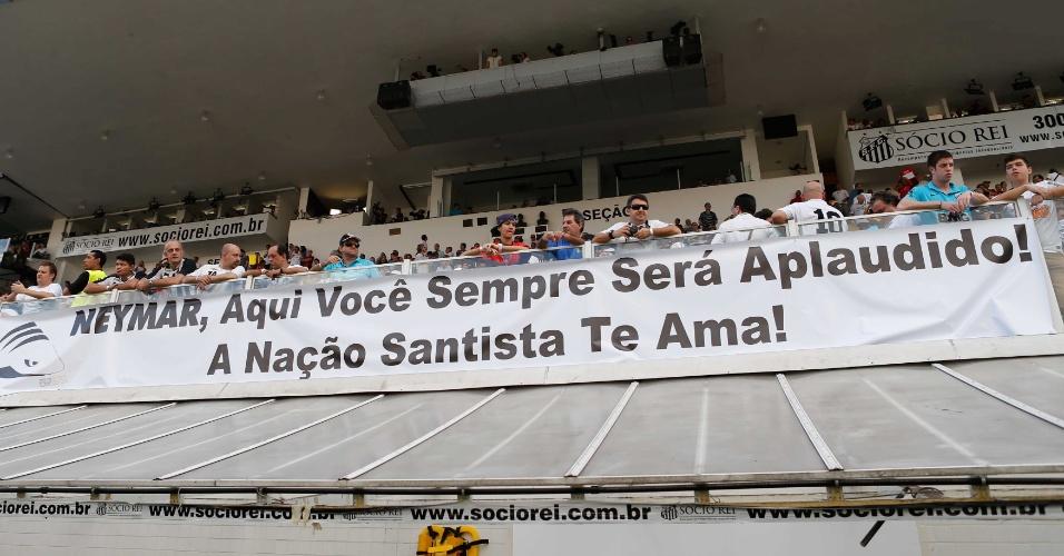 Faixa de santistas apoia Neymar