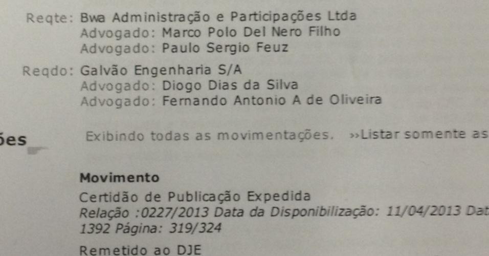 Ação em que o escritório de Del Nero defende a BWA para obter gestão do Castelão