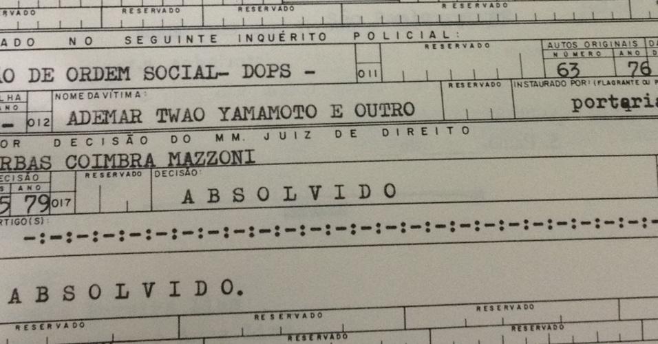 Documento mostra que Del Nero foi absolvido da acusação de recepção a roubo