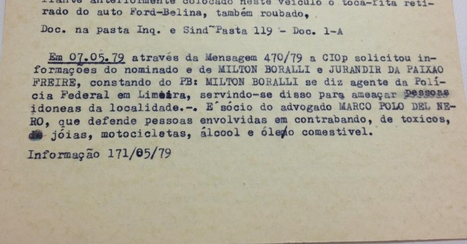 Ficha de Del Nero que diz que ele defende contrabandistas