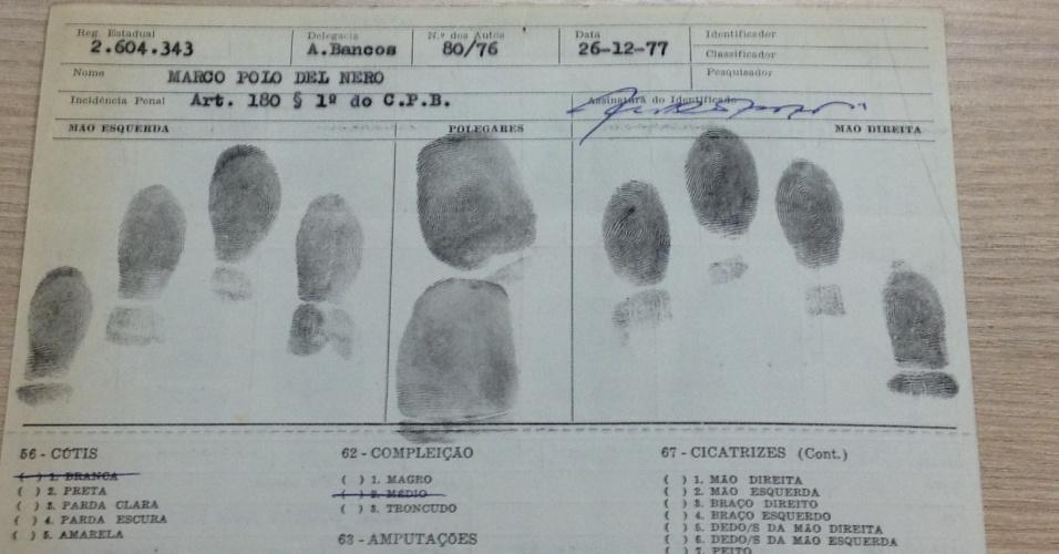 Ficha policial de Del Nero em inquérito por recepção de roubo