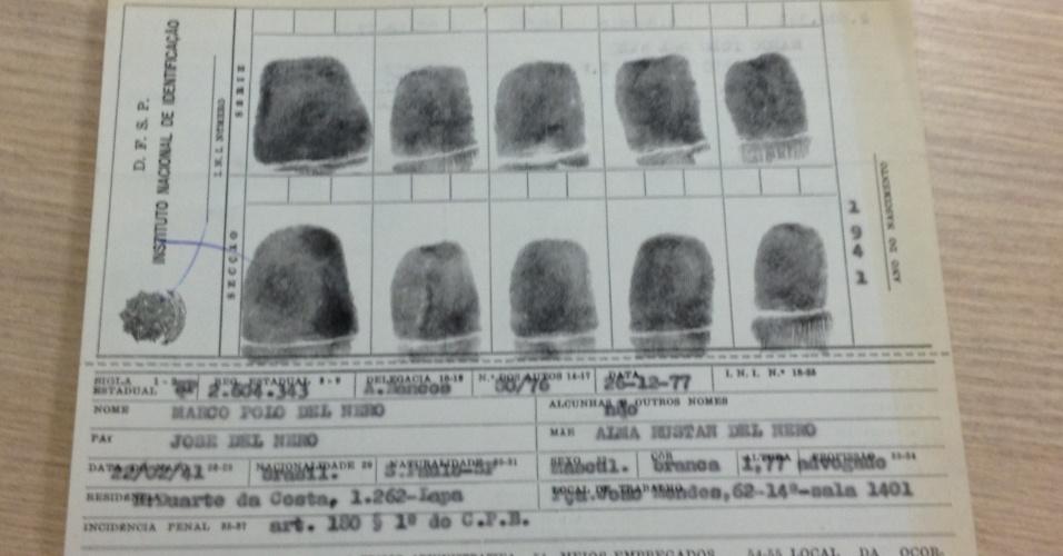 Identificação e digitais de Del Nero feitas em ficha policial