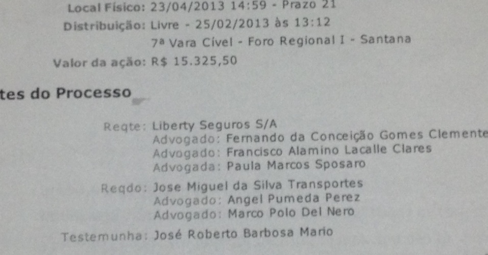 Processo em que Del Nero atua contra a Liberty Seguros, patrocinadora da Fifa