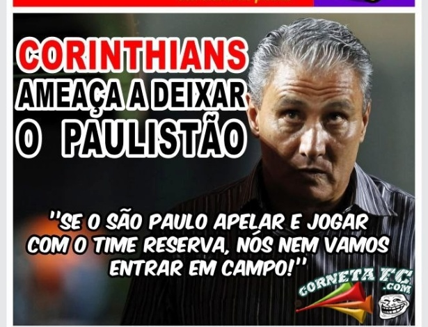 Corneta FC: Tite avisa que Corinthians pode não entrar em campo