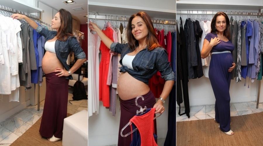30.abr.2013 - Grávida de seis meses de Antonio Bento, Cássia Linhares visitou uma loja de gestantes em São Paulo. A atriz fez questão de exibir a barriga. Ela já é mãe de Eduarda, de 4 anos