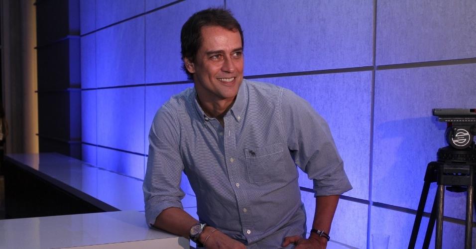"""30.abr.2013 - Marcello Antony prestigiou a coletiva de lançamento da novela """"Amor à Vida"""" no Projac, no Rio. Na trama, ele será casado com o personagem de Thiago Fragoso"""