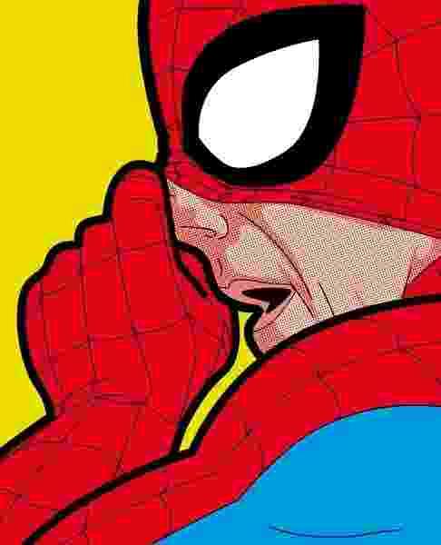 Homem-Aranha levanta a máscara para tirar catota do nariz em série de ilustrações do francês Grégoire Guillemin - Grégoire Guillemin