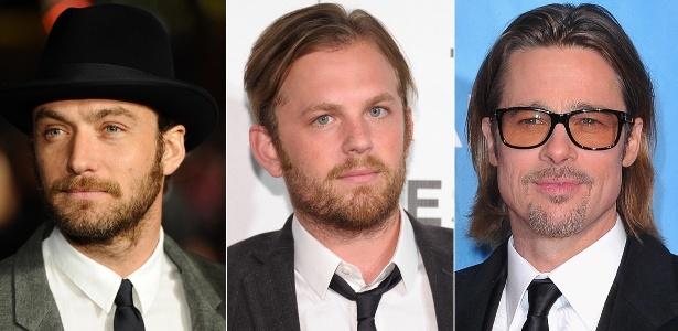 Jude Law, Caleb Followill e Brad Pitt são alguns adeptos do estilo hipster - Getty Images