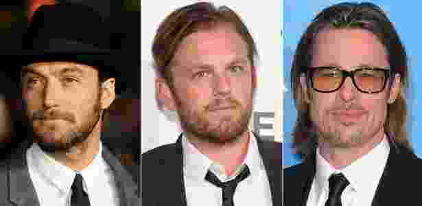 Jude Law, Caleb Followill e Brad Pitt são alguns adeptos do estilo hipster - Getty Images