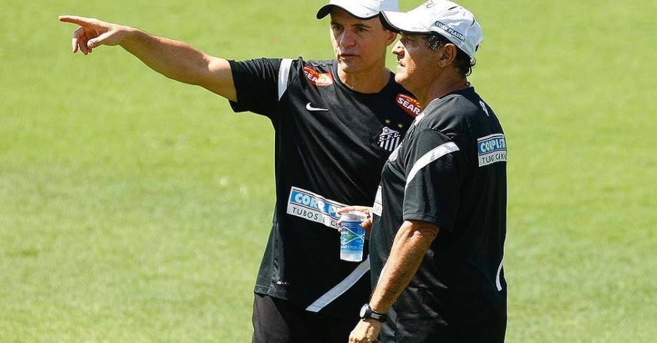 Muricy Ramalho e Ricardo Rosa em treino do Santos no CT Rei Pelé